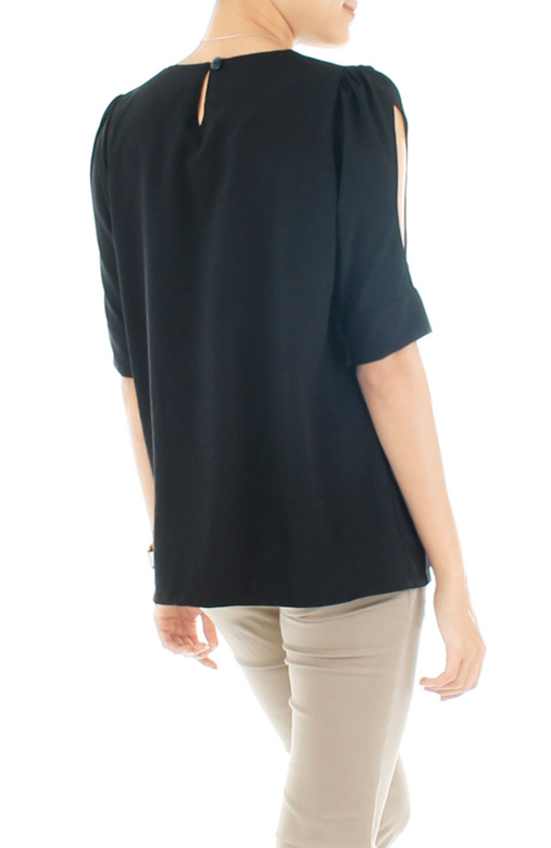 Keira Cutout Blouse - Black