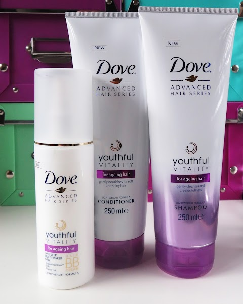 DOVE Advanced Hair Series Youthful Vitality šampūnas, kondicionierius ir BB kremas