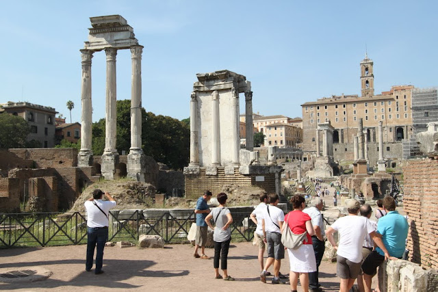 Temple of Castor & Pollux  as well as Temple of Vesta (at the background) of Roman Forum in Rome, Italy