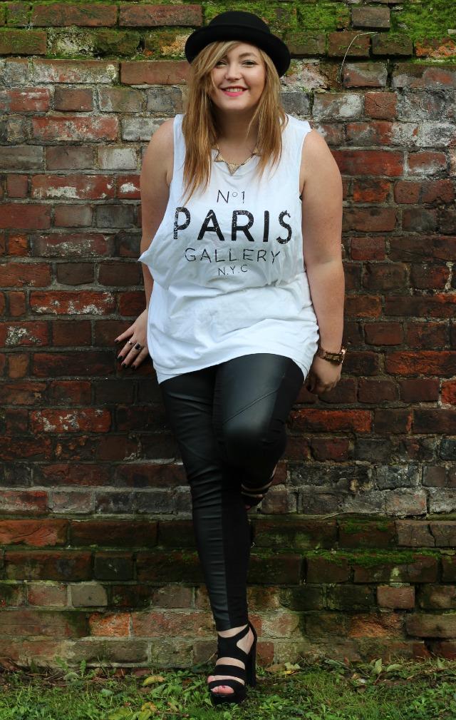 no 1 paris gallery nyc, vest, white, river island, oversized, cutout, topshop, black, rings, leather panelled leggings, H&M, new look, black platform sandals, bowler hat,
