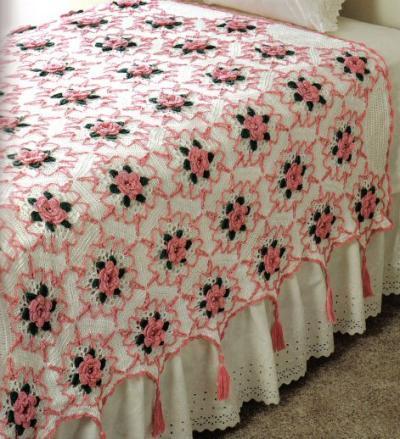 Kang l tejiendo con armon a puntada rosa para colcha - Como hacer una colcha de tela ...
