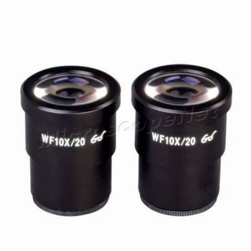 2 WF10X/20 WideField Eyepieces for Microscopes 30mm