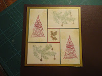 Collage Christmas card with brown background