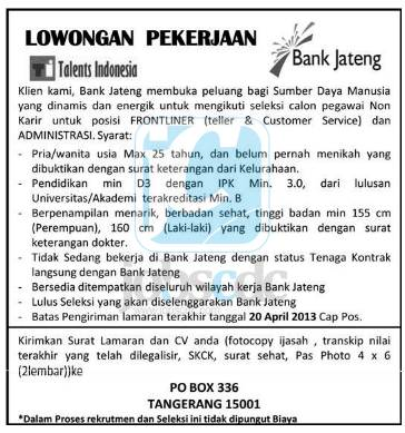 Teller, Customer Service, Administrasi Bank Jateng April 2013