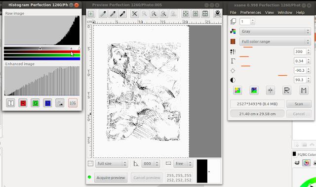 Preview depois de alterado o valor do gamma da imagem no Histogram.