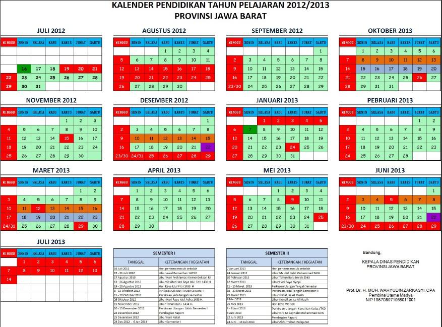 Kalender Pendidikan Provinsi Jawa Barat TP.2012/2013