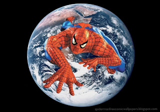 Spiderman desktop Wallpaper Climbing in Planet Earth seen from space Desktop wallpaper
