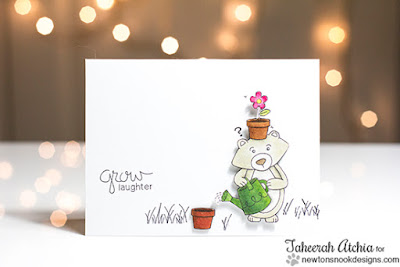 Grow Laughter Bear Card by Taheerah Atchia | Garden Whimsy Stamp set by Newton's Nook Designs