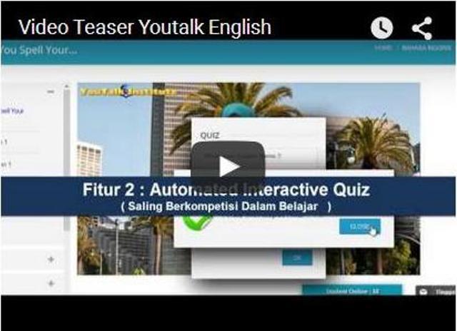 Kursus online bahasa Inggris di SekolahPintar.com, dibuat oleh YouTalk Institute.
