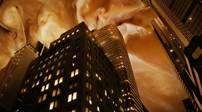 Manipulación de fotos surrealista combinan paisajes urbanos con hermoso remolinos de café