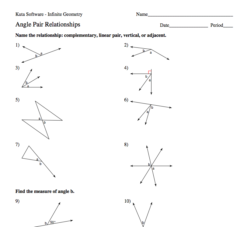 Everybody is a Genius Angle Pairs – Angle Relationships Worksheet