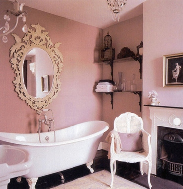 [Pink retro-style bathroom]