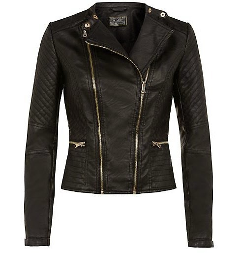 Black Double Zip Padded Biker Jacket