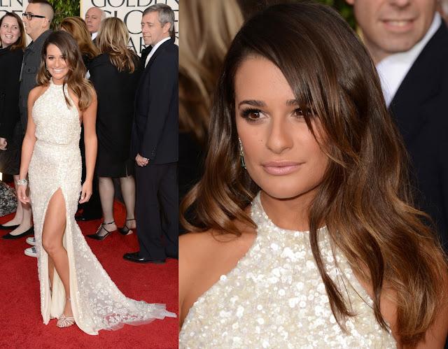 Lea Michele - Atriz do Seriado Glee - em um longo branco com fenda lateral do estilista Elie Saab no Globo de Ouro 2013.