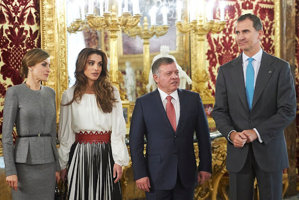 King Felipe VI of Spain and Queen Letizia of Spain receive King Abdullah of Jordan and Queen Abdullah of Jordan for a lunch at the Royal Palace