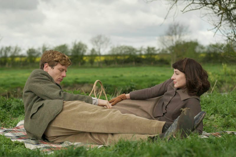 JAMES NORTON as Sidney Chambers and MORVEN CHRISTIE as Amanda Kendall in Grantchester