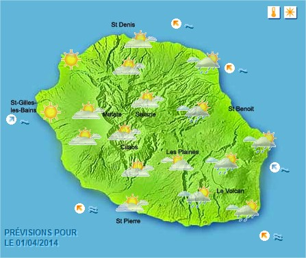 Prévisions météo Réunion pour le Mardi 01/04/14