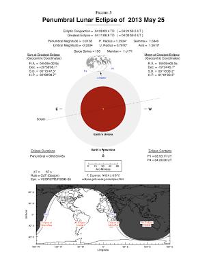 Eclipse lunar 25 de Mayo 2013, mapa de visibilidad