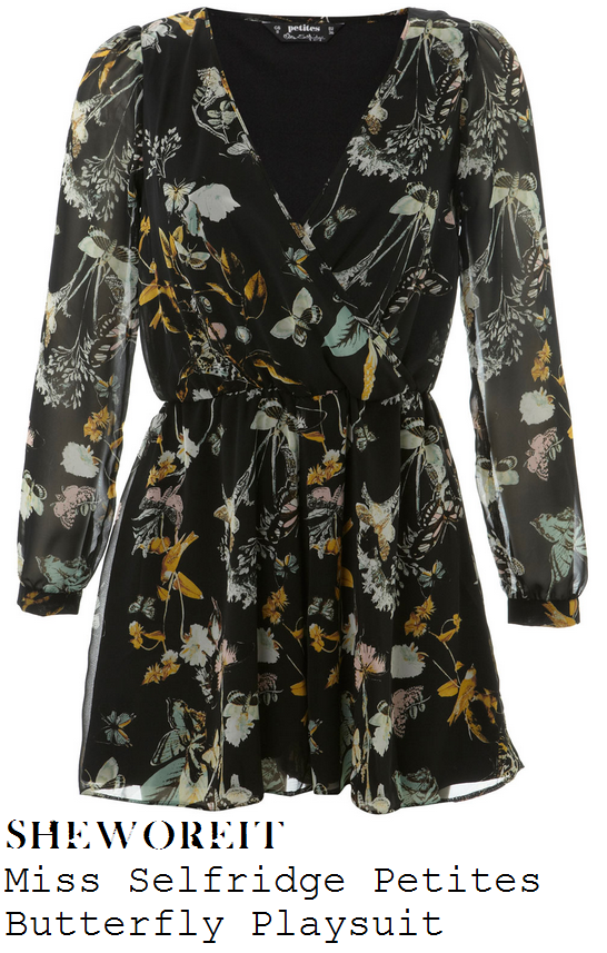 stephanie-waring-black-butterfly-floral-print-long-sleeve-v-neck-playsuit-jennifer-metcalfe-birthday