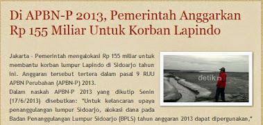 Di APBN-P 2013, Pemerintah Anggarkan Rp 155 Miliar Untuk Korban Lapindo