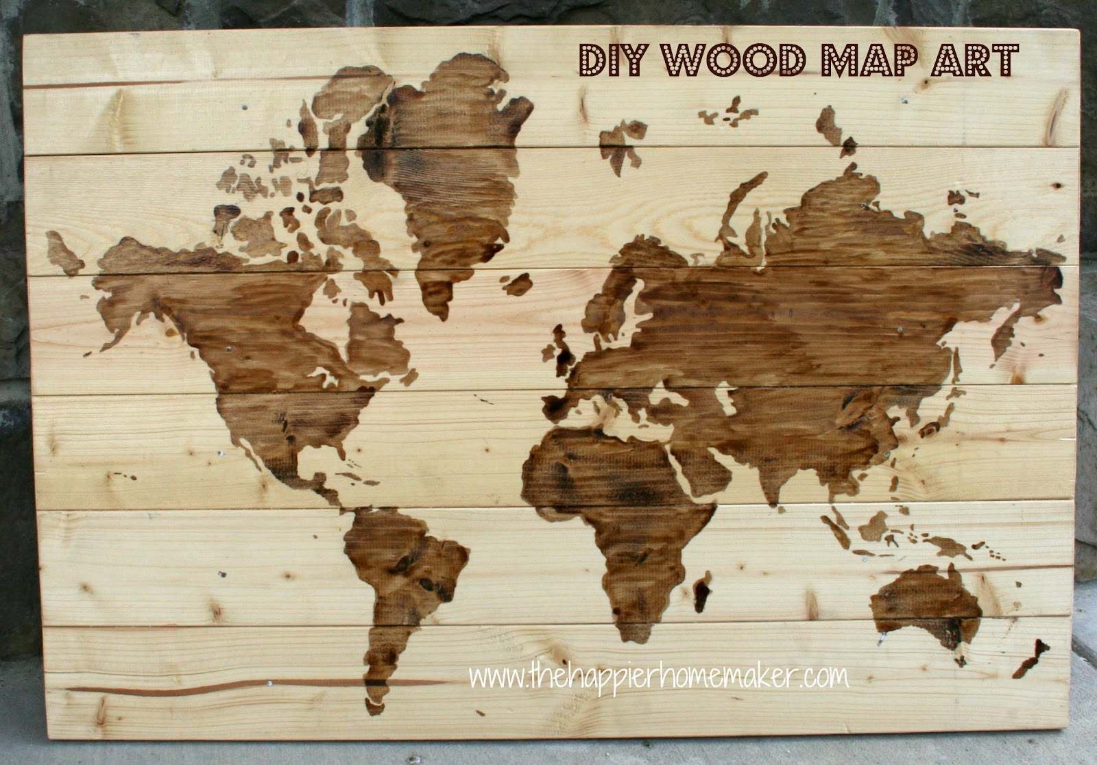 Diy wooden world map art the happier homemaker gumiabroncs Image collections