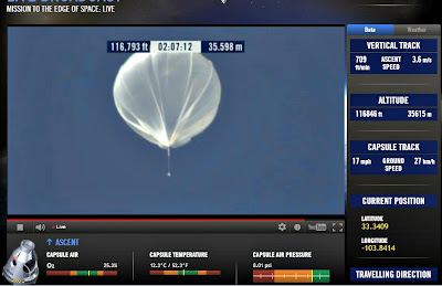 LIVE VIDEO - Mission To The Edge of Space –  Record-Breaking Freefall Jump (3) 10-14-12