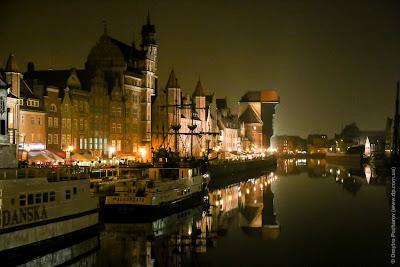 Gdansk at night. Гданськ вечером