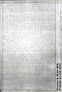 Last Will & Testament, Charles  A. Kuhn, Indianapolis, IN, Probated Feb 1916
