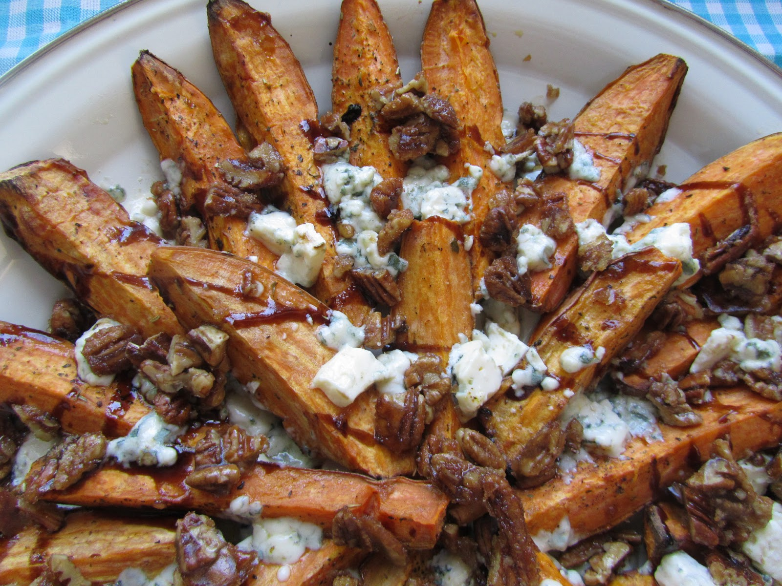 ... Dishes: ROASTED SWEET POTATOES WITH BLUE CHEESE &SPICY CANDIED PECANS