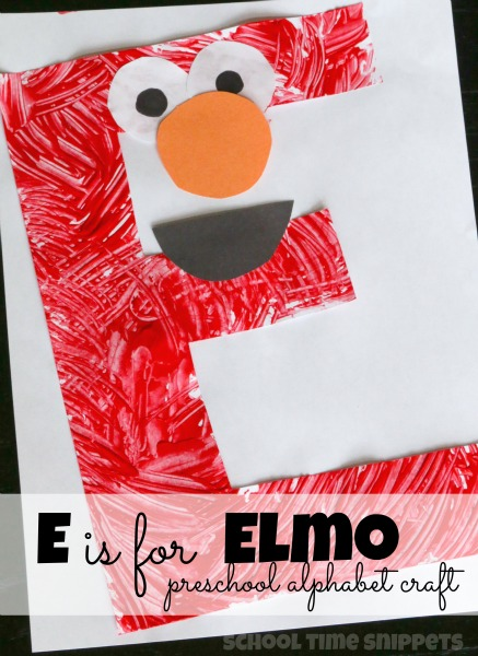 E is for elmo preschool alphabet craft school time snippets for Elmo arts and crafts