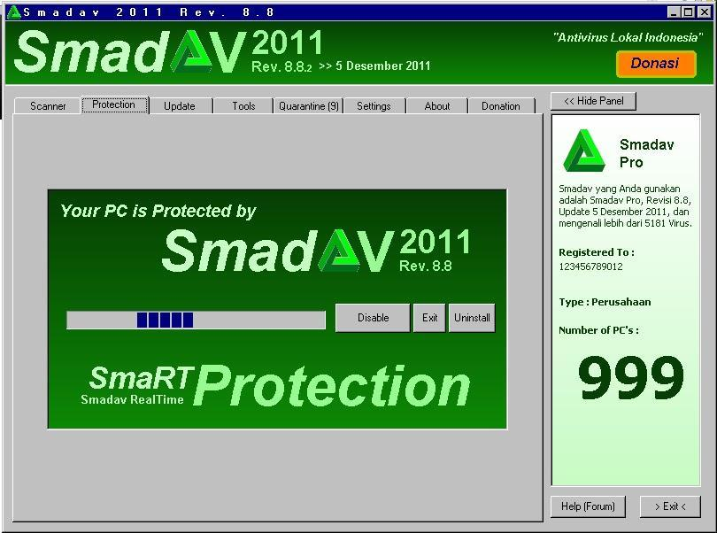 Smadav 2011 Rev. 8.8: Addition of a new virus database 150, Completion