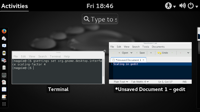 Desktop Overview with an open terminal and GEdit window