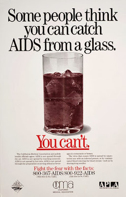 Campaña SIDA VIH 1987 Some People Think You Can Catch AIDS from a Glass