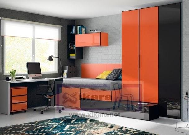Habitaciones juveniles combinadas con naranja - Habitaciones color naranja ...