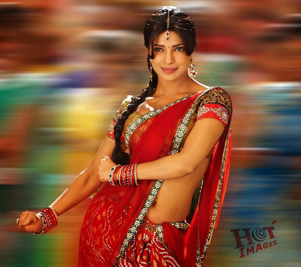 Priyanka Chopra Hot red Saree in gunday