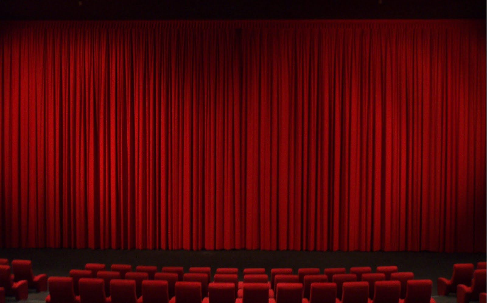 Red Velvet Theatre Curtains Swept to the Side Clipart Illustration