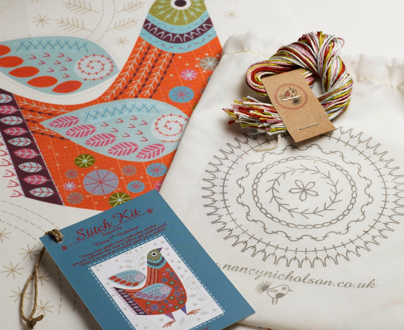Bird embroidery kit, unpacked