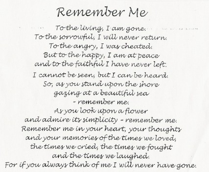 Remember me verse Rest In Peace Poems For A Friend