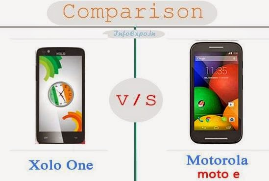 XOLO One versus Motorola Moto E specifications and features comparison RAM,Display,Processor,Memory,Battery,camera,connectivity,special feature