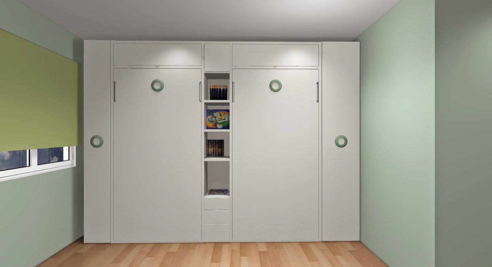Dise o de cuartos o dormitorios juveniles - Camas muebles abatibles ...
