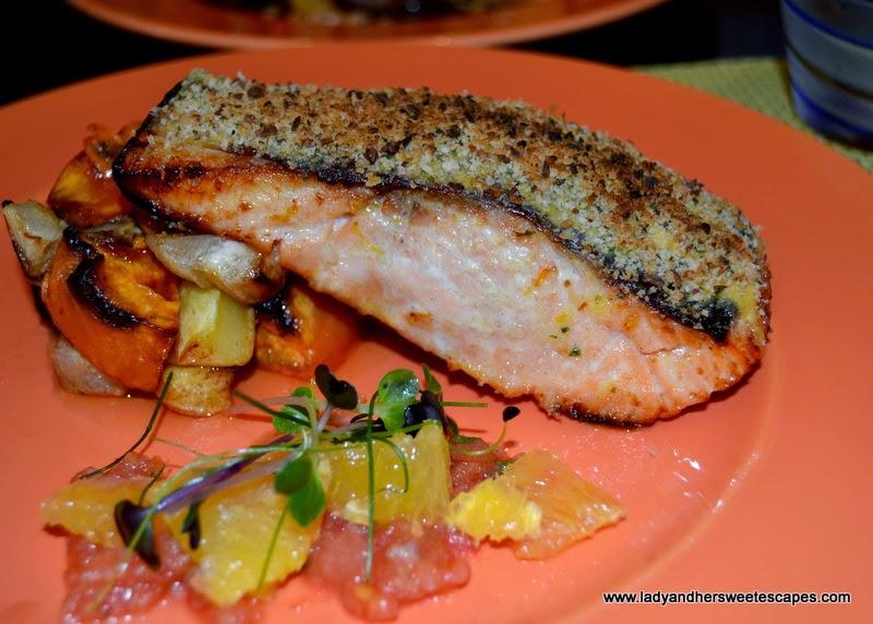 Orange and Pine nut Crust Salmon at BubblOrange Brunch
