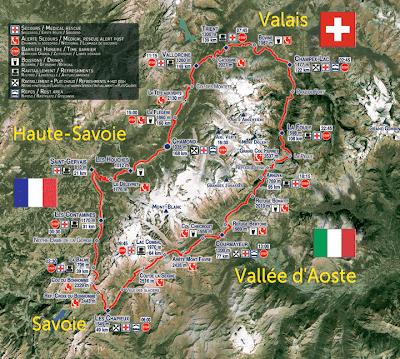 Mapa del recorrido rodeando el Montblanc