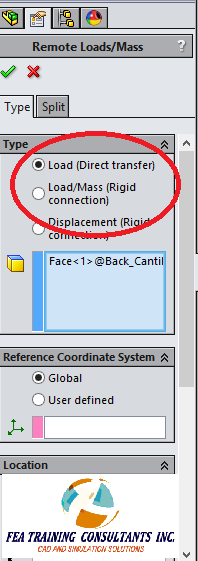 direct transfer vs rigid connection in solidworks simulation