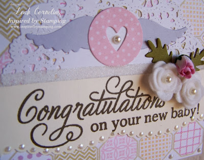 Inspired by Stamping Leah Cornelius, Big Congrats stamp set, Octagon stamp set, baby card