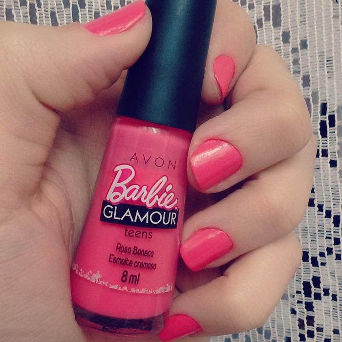 esmalte barbie glamour rosa boneca