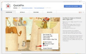 QuickPin extension for pinning graphic content