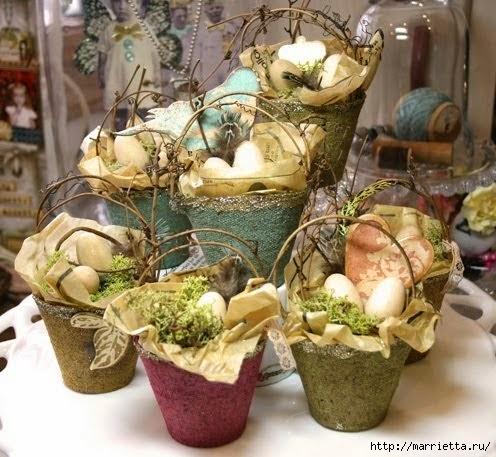 Декор цветочных горшков фото в винтажном стиле