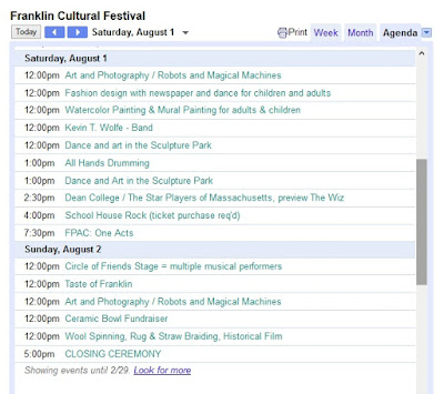 screen grab of schedule for Saturday and Sunday