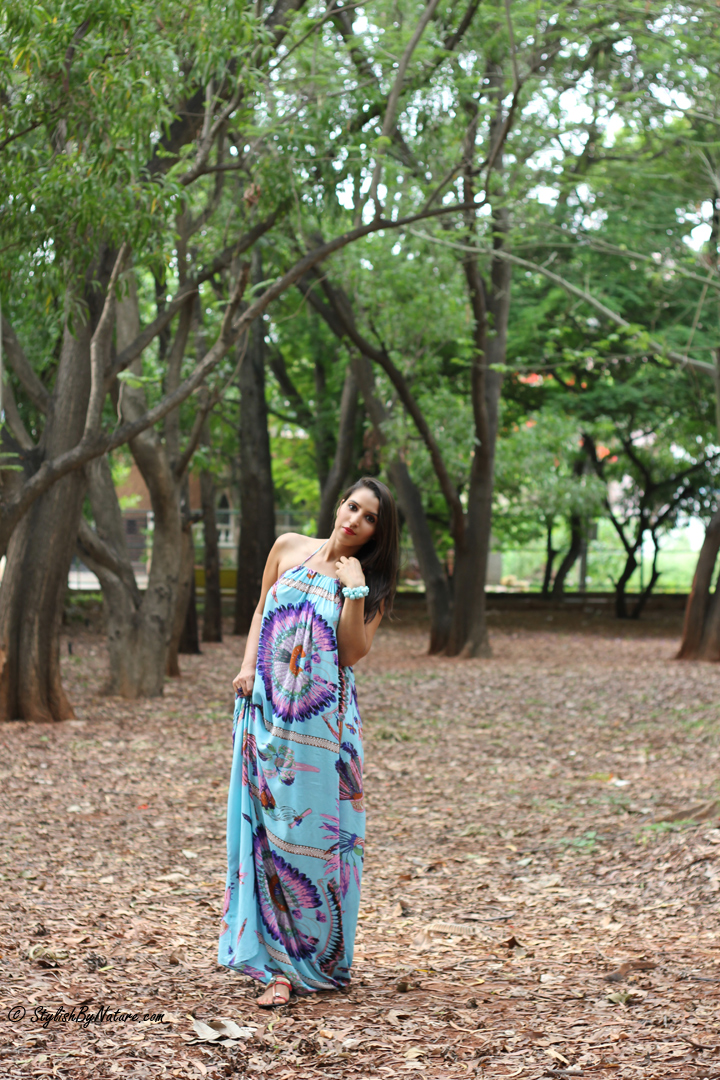 Tropical print, MAxi Dress, Beaded Flats, Colorful Maxi