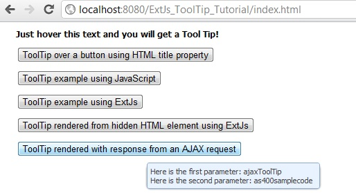 Display ToolTip Hover Text using ExtJs AJAX request